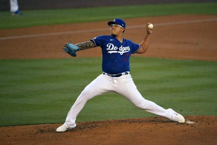 """Dodgers pitcher Julio Urias throws during an intrasquad game Wednesday at Dodger Stadium. <span class=""""copyright"""">(Mark J. Terrill / Associated Press)</span>"""