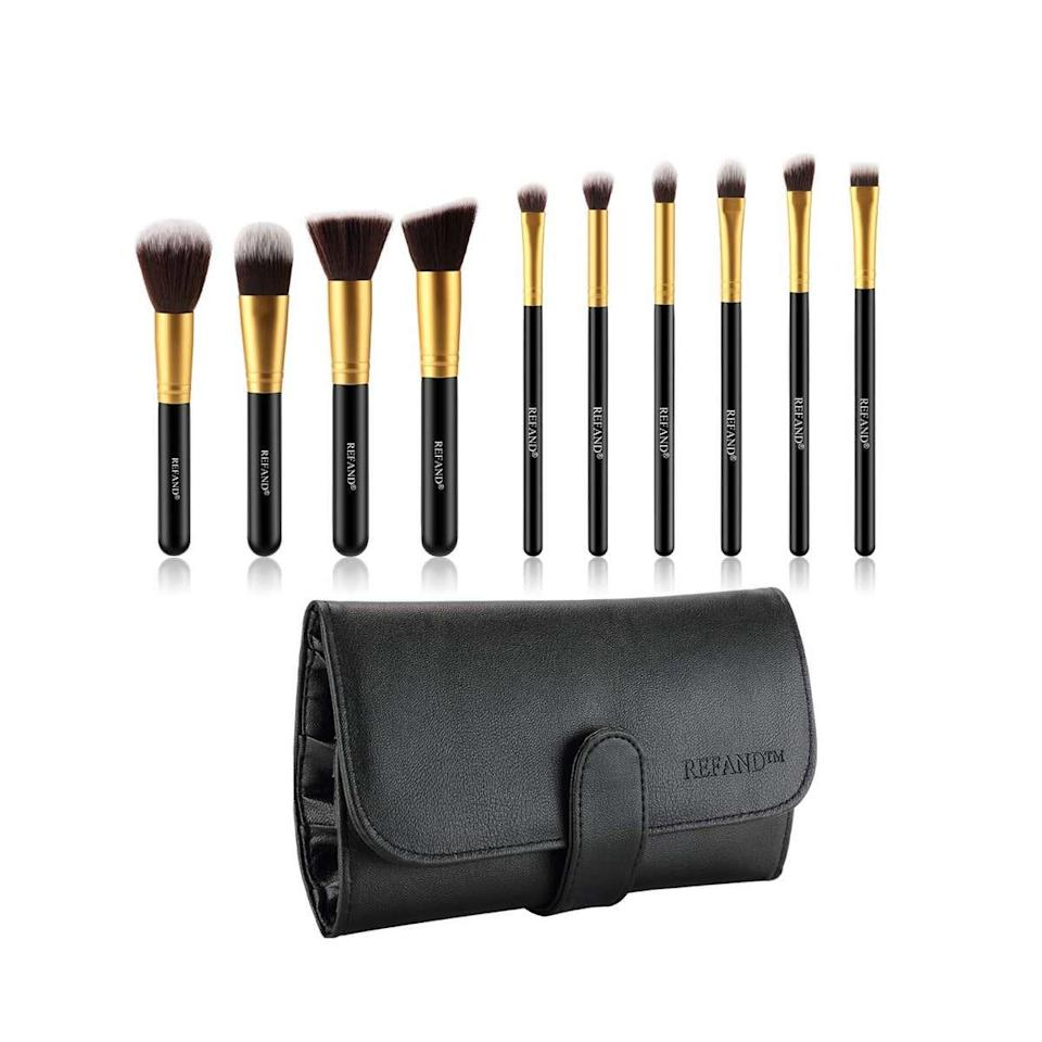 "<p><strong>Star Rating:</strong> 4.6 out of 5</p> <p><strong>Key selling points:</strong> As far as reasons to love this travel-friendly brush set, the chic gold detailing is just the beginning. The handmade brushes are durable and easy to use—plus, the protective case will keep the bristles safe when you're on the go.</p> <p><strong>What customers say:</strong> ""These brushes are excellent! The set includes every brush you could ever need for powder, highlighting, contouring, and eye shadow. Whether you're blending, lining, or smudging, it's got you covered. I've had zero issues with bristles coming loose, which I've experienced with other brushes, leaving fine little hairs all over my face after use. Not the case with these! Would highly recommend!"" —<a href=""https://amzn.to/3e8cgfA"" rel=""nofollow noopener"" target=""_blank"" data-ylk=""slk:JP"" class=""link rapid-noclick-resp""><em>JP</em></a></p> $14, Amazon. <a href=""https://www.amazon.com/Refand-Brushes-Premium-Professional-Leather/dp/B07CBZ1YW8/ref=sr_1_3_sspa"" rel=""nofollow noopener"" target=""_blank"" data-ylk=""slk:Get it now!"" class=""link rapid-noclick-resp"">Get it now!</a>"