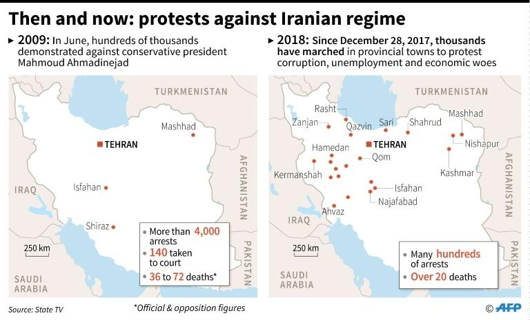 Maps comparing unrest in Iran in 2009 and now