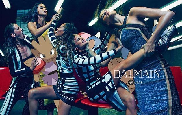 <p>What do you get when you cross Balmain's spring-summer 2015 army of Adriana Lima, Joan Smalls, Isabeli Fontana, Rosie Huntington-Whiteley, and Crista Cober with Pokémon's Hitmonchan and Hitmontop? Mayhem, that's what! </p>