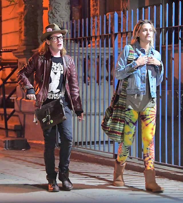 "<p>Paris, 19, and Macaulay's relationship is unconventional, you may have guessed. (Hold for the picture of her painting his nails.) However, they looked like a couple of edgy New Yorkers out together on May 1 in NYC's Harlem nabe. Paris, dressed in tie-dye leggings, met Mac, 36, at his apartment before they made their way to a jazz bar. He was dressed … how he always is, which <a href=""https://www.yahoo.com/celebrity/its-that-time-again-when-everybody-freaks-out-over-macau-174117937.html"" data-ylk=""slk:often freaks people out;outcm:mb_qualified_link;_E:mb_qualified_link"" class=""link rapid-noclick-resp newsroom-embed-article"">often freaks people out</a>. The pair, both smokers, stayed out until 4 a.m. — despite the fact that Jackson had to <a href=""https://www.yahoo.com/celebrity/10-photos-completely-sum-met-gala-2017-135431845.html"" data-ylk=""slk:attend the Met Gala;outcm:mb_qualified_link;_E:mb_qualified_link"" class=""link rapid-noclick-resp newsroom-embed-article"">attend the Met Gala</a> just hours later. (Photo: Splash News) </p>"