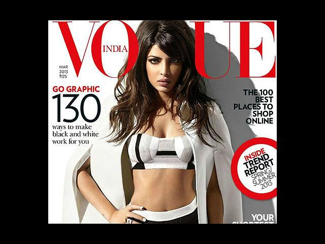 <b>3) Priyanka Chopra for Vogue, March</b><br>Rebel, rockstar, fierce and impactful are some of the adjectives we associate Priyanka with, and the March edition of Vogue somehow emanates the same vibe. In a Shivan and Narresh swimsuit and Burberry cape, Priyanka captivated our attention.
