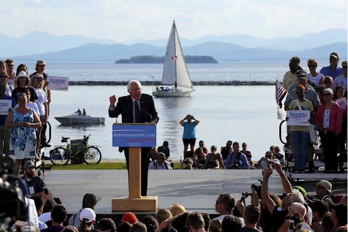 Sen. Bernie Sanders, I-Vt., speaks at a campaign kickoff rally on the shores of Lake Champlain in Burlington, Vt., May 26, 2015. (Brian Snyder/Reuters)