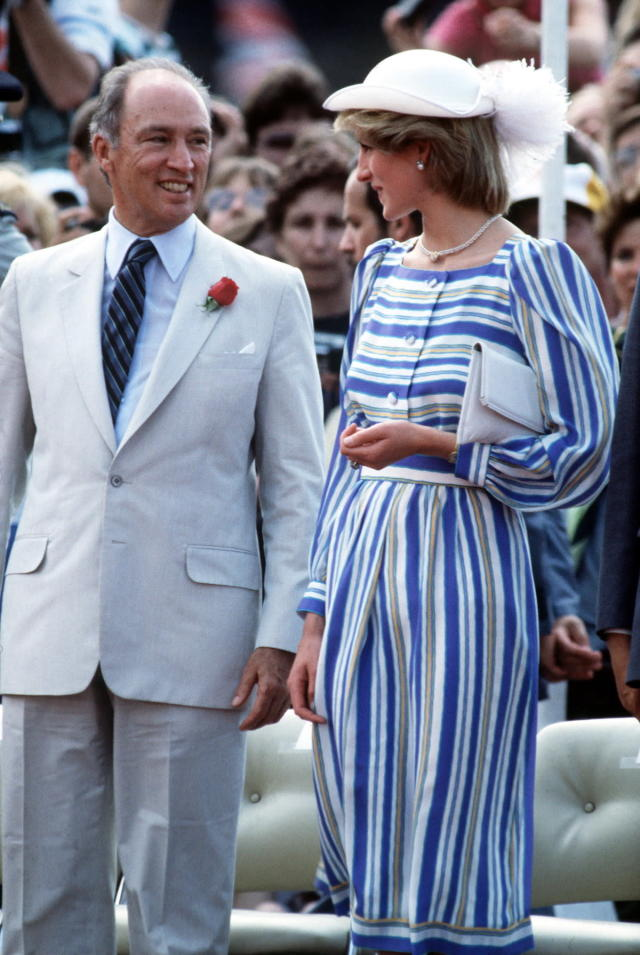 <p>Photographed walking in Canada with Justin Trudeau's father, Prime Minister Pierre Trudeau, Diana once again drew all eyes, thanks to her boldly striped day dress. Soon thereafter, 20-something women around the globe emulated this look for work or afternoon parties. (Photo: Tim Graham/Getty Images) </p>