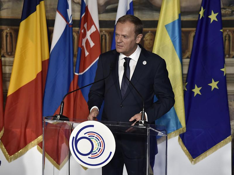 European Council President Donald Tusk delivers a speech during a special summit of EU leaders to mark the 60th anniversary of the bloc's founding Treaty of Rome: Getty/AFP
