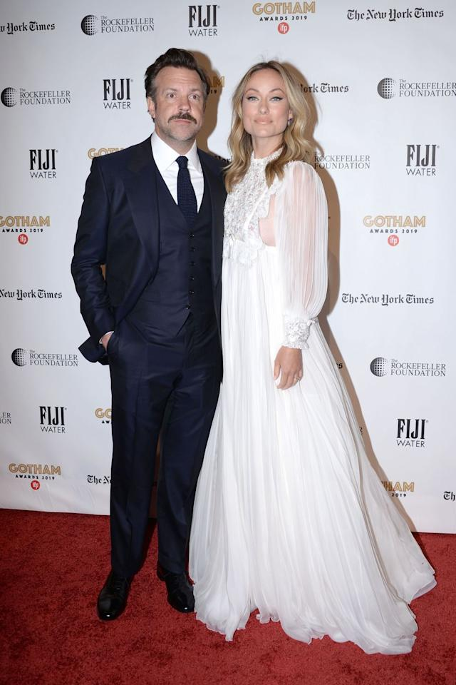 <p>The couple attended the Gotham awards in New York City, with Sudeikis looking sharp in a tux and Wilde looking radiant in a white Miu Miu gown.</p>