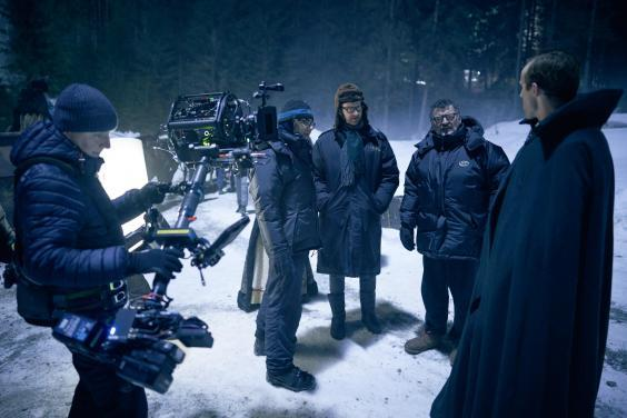 Mark Gatiss and Steven Moffat on the set of 'Dracula' (BBC)