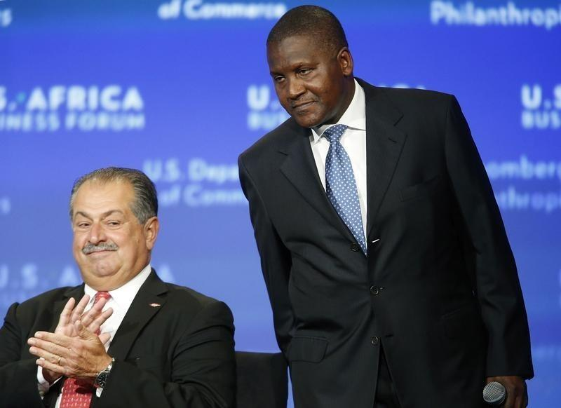 Dow Chemical CEO Andrew Liveris and Dangote Group CEO Aliko Dangote take the stage for a panel discussion as part of the U.S.-Africa Business Forum in Washington