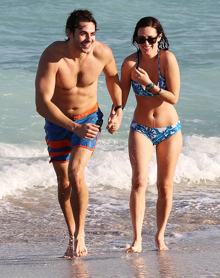 November 08, 2012: Rumer Willis and boyfriend Jayson Blair, an actor on the tv show 'The New Normal', are seen on South Beach, Miami, FL.