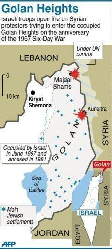 Map of the occupied Golan Heights showing where Israeli troops fired on Syrian protestors. Israeli troops opened fire on Sunday as protesters from Syria stormed a ceasefire line in the occupied Golan Heights, with Damascus saying 23 demonstrators were killed