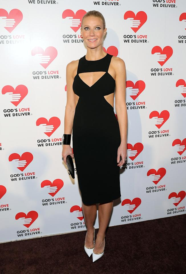 "The cutout waist provided an optical illusion that appeared to even further trim the toned abs of ""Shakespeare in Love"" Oscar winner Gwyneth Paltrow. Fashionistas called this Michael Kors gown one of Paltrow's best looks ever."