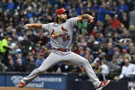 FILE PHOTO: Apr 17, 2019; Milwaukee, WI, USA; St. Louis Cardinals pitcher Michael Wacha (52) delivers a pitch against the Milwaukee Brewers at Miller Park. Mandatory Credit: Michael McLoone-USA TODAY Sports