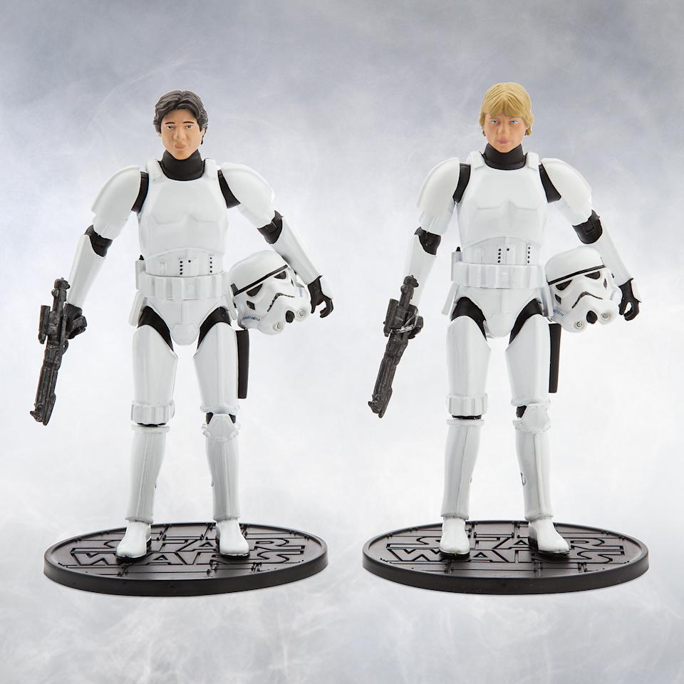 <p>These fully articulated deluxe 6-inch die-cast figures allow fans to fans to recreate the famous scene where the heroes disguise themselves as Stormtroopers to rescue Leia from the Death Star. (Credit: Disney Store) </p>