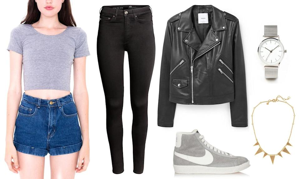 Snag Kaia Gerber's look in a tiny baby tee, cigarette jeans, high top sneaks, and the ultimate cool kid black leather jacket.
