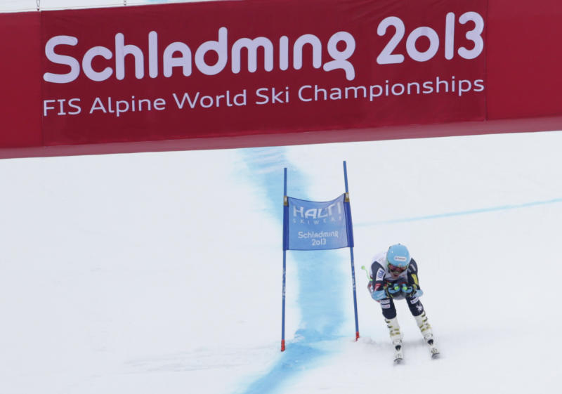 United States' Ted Ligety skis towards the finish line during the men's super-G at the Alpine skiing world championships in Schladming, Austria, Wednesday, Feb.6,2013. (AP Photo/Matthias Schrader)