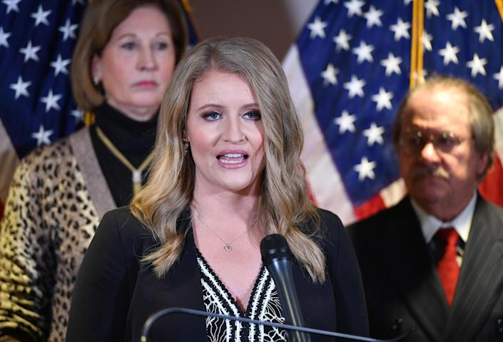 A Nov. 19, 2020, photo shows attorney Jenna Ellis speaking during a press conference at the Republican National Committee headquarters in Washington.