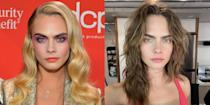 <p>The model and actress debuted a brand new shaggy brunette look in place of her signature long blonde hair. Delevingne paired her new chestnut brown waves with rainbow eye make-up and a bright pink top, captioning her Instagram post of the new look: 'Blondes have more fun, but brunettes...'</p>