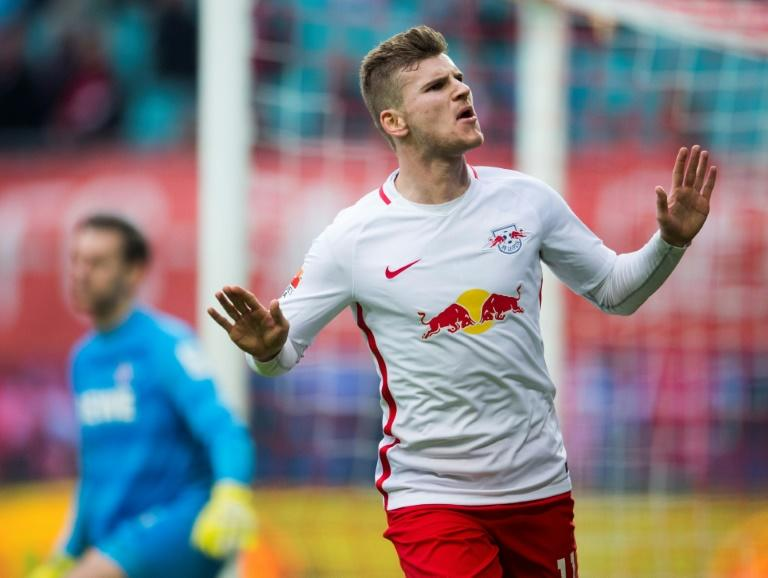 RB Leipzig forward Timo Werner celebrates a goal against FC Cologne on February 25, 2017