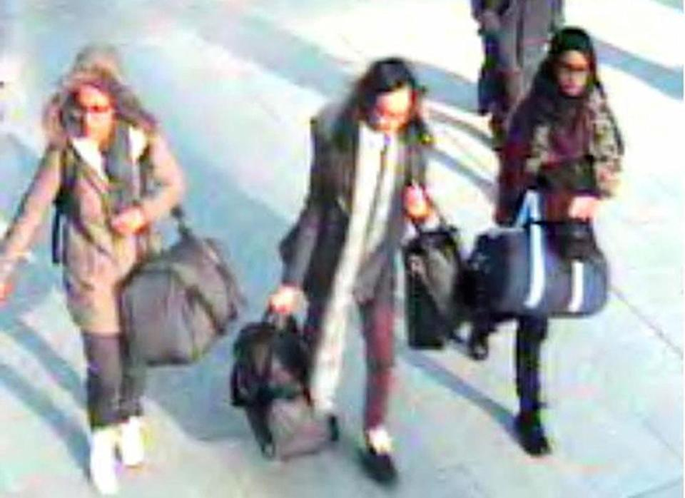 Shamima Begum, right, fled the UK for Syria with fellow teenagers Amira Abase, left, and Kadiza Sultana, centre (Picture: PA)