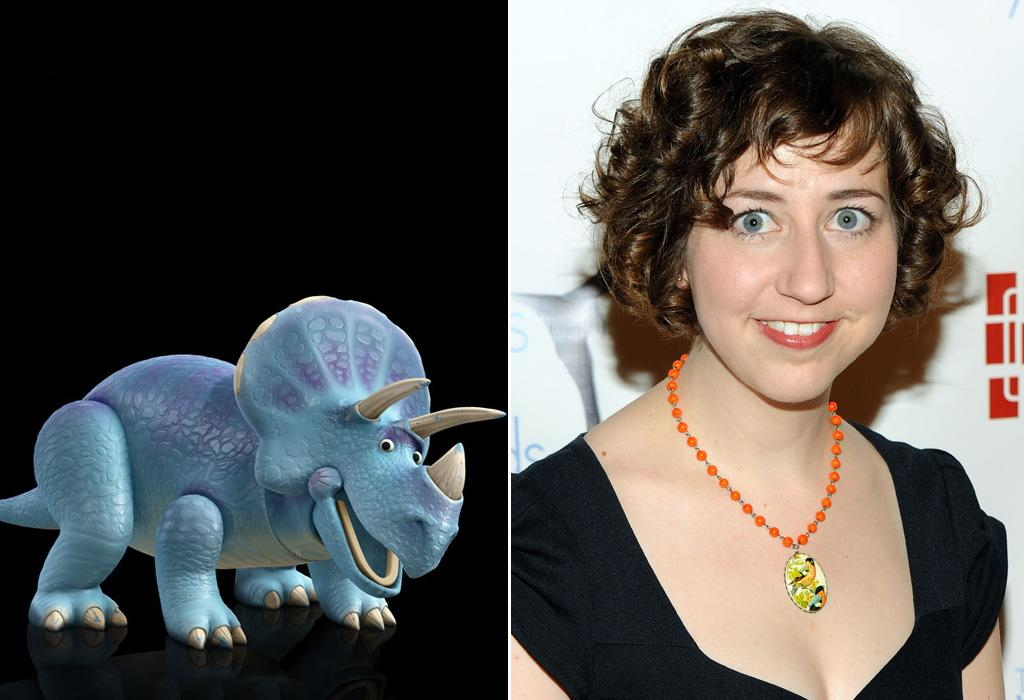 """TRIXIE/<a href=""""http://movies.yahoo.com/movie/contributor/1809819112"""">KRISTEN SCHAAL</a>  Another new character to the """"Toy Story"""" universe, Trixie -- played by Kristen Schaal of """"Flight of the Conchords"""" fame -- was designed to look like it was from the same line of toys as """"Toy Story"""" alum Rex."""
