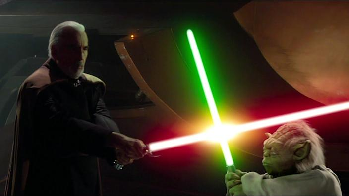 Yoda shows off his lightsaber skills against his former student Count Dooku.