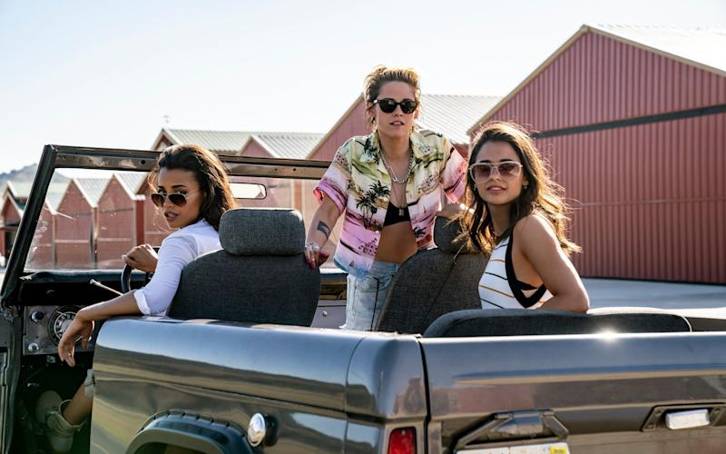 Ella Balinska, Kristen Stewart, and Naomi Scott in Charlie's Angels - Sony Pictures