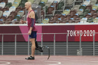 Sam Grewe of the United States prepares to compete in the men's high jump T63 final during the Tokyo 2020 Paralympics Games at the National Stadium in Tokyo, Japan, Tuesday, Aug. 31, 2021. (AP Photo/Eugene Hoshiko)