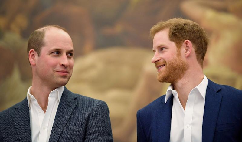 Prince William and Prince Harry in April 2018 at the opening of Greenhouse Sports Centre in London.