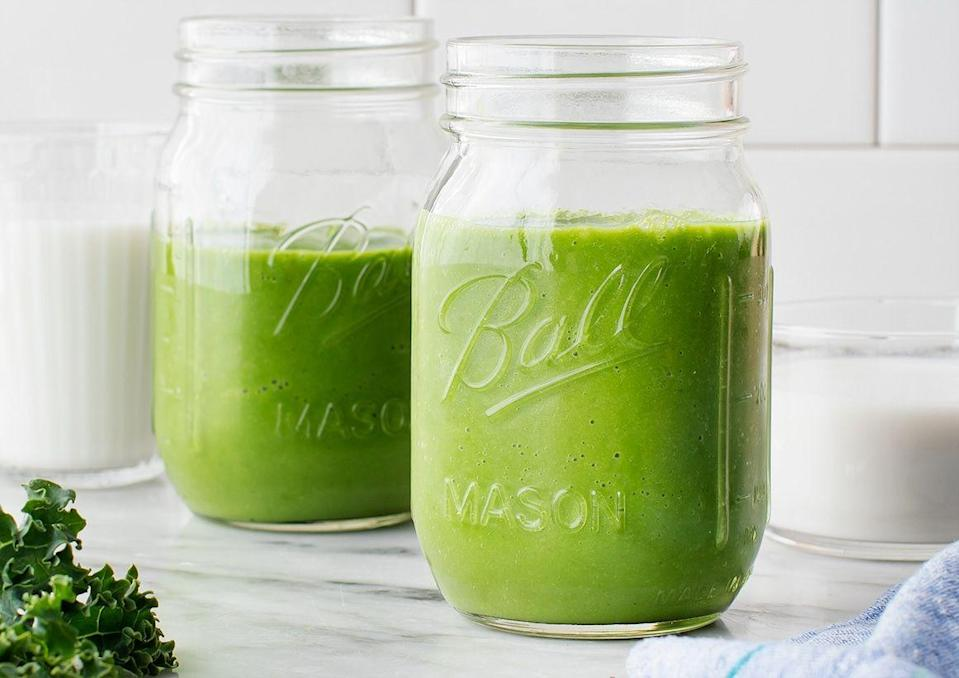 """<p>This kale green smoothie is the perfect way to get in some greens first thing in the morning, which starts your day off on a nutritious note and packs in fiber first thing. </p><p><a class=""""link rapid-noclick-resp"""" href=""""https://www.loveandlemons.com/kale-smoothie/#wprm-recipe-container-55654"""" rel=""""nofollow noopener"""" target=""""_blank"""" data-ylk=""""slk:Get the recipe"""">Get the recipe</a></p>"""