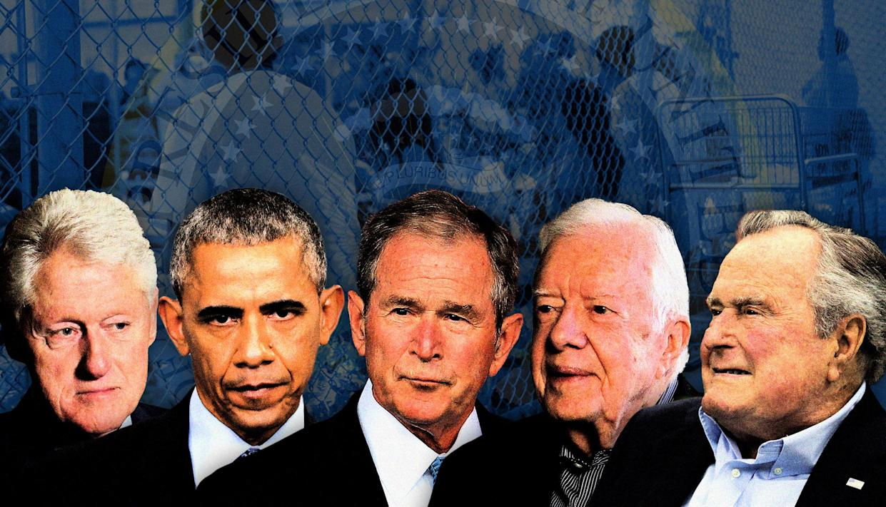 Former Presidents, from left, Bill Clinton, Barack Obama, George W. Bush, Jimmy Carter and George H.W. Bush. (Photo illustration: Yahoo News; photos: AP [5], U.S. Customs and Border Protection's Rio Grande Valley Sector via AP)