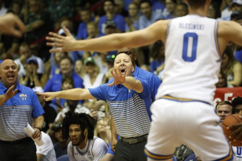 UCLA head coach Mick Cronin shouts at his team as they take on Michigan State during the first half of an NCAA college basketball game Wednesday, Nov. 27, 2019, in Lahaina, Hawaii. (AP Photo/Marco Garcia)