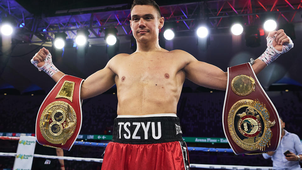 Tim Tszyu has brushed off trash talk from rival boxer Michael Zerafa. (Photo by Brett Hemmings/Getty Images)