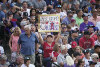 A fan cheers for American League's Shohei Ohtani, of the Los Angeles Angeles, during the first round of the MLB All Star baseball Home Run Derby, Monday, July 12, 2021, in Denver. (AP Photo/David Zalubowski)