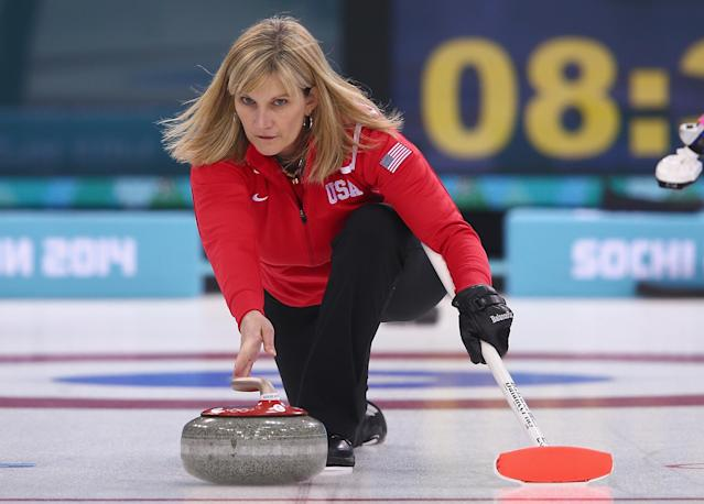 SOCHI, RUSSIA - FEBRUARY 09: Erika Brown of USA in action during curling training on day 2 of the Sochi 2014 Winter Olympics at the Ice Cube Curling Centre on February 9, 2014 in Sochi, Russia. (Photo by Clive Mason/Getty Images)