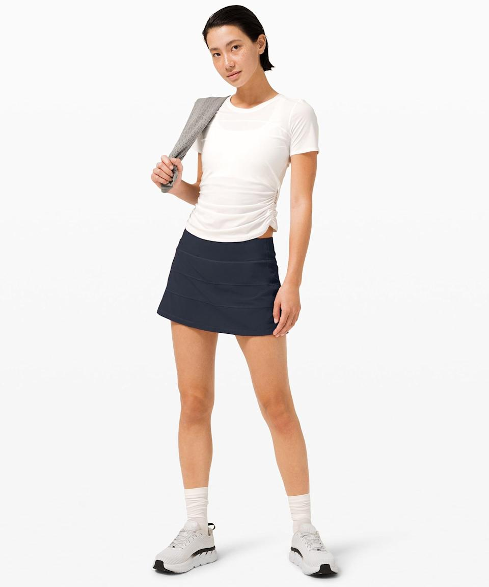 <p>Go from the court to the trails to the grocery store in this <span>Lululemon Pace Rival Mid Rise Skirt</span> ($68).</p>