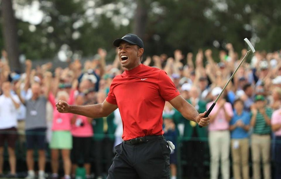 Tiger Woods celebrates after winning the 2019 MastersGetty