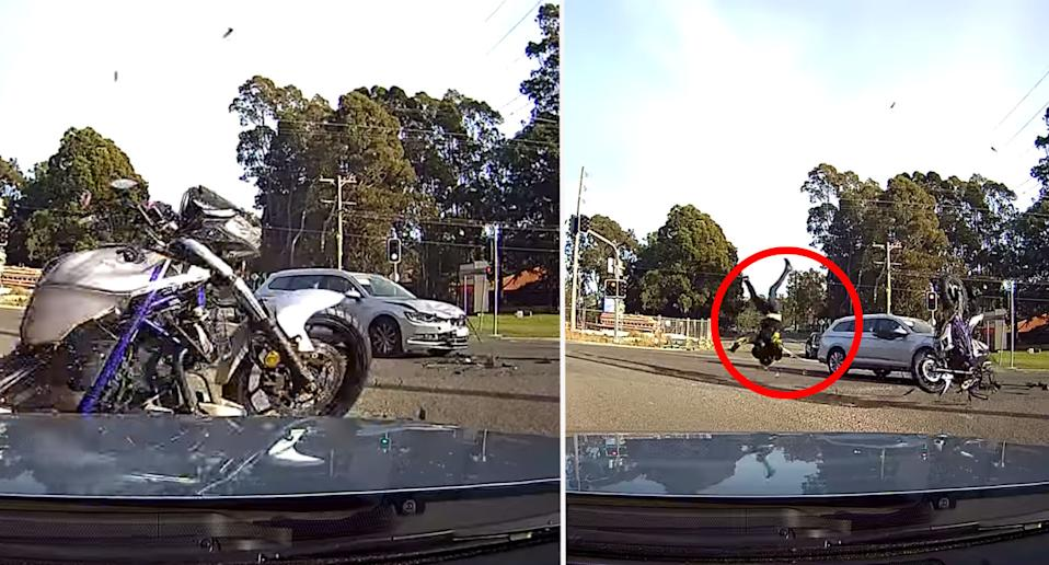 The motorcyclist can be seen flipping over the handlebars as the bike flies into a nearby car.