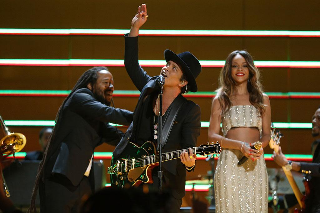 Damian Marley, Bruno Mars and Rihanna perform at the 55th Annual Grammy Awards at the Staples Center in Los Angeles, CA on February 10, 2013.