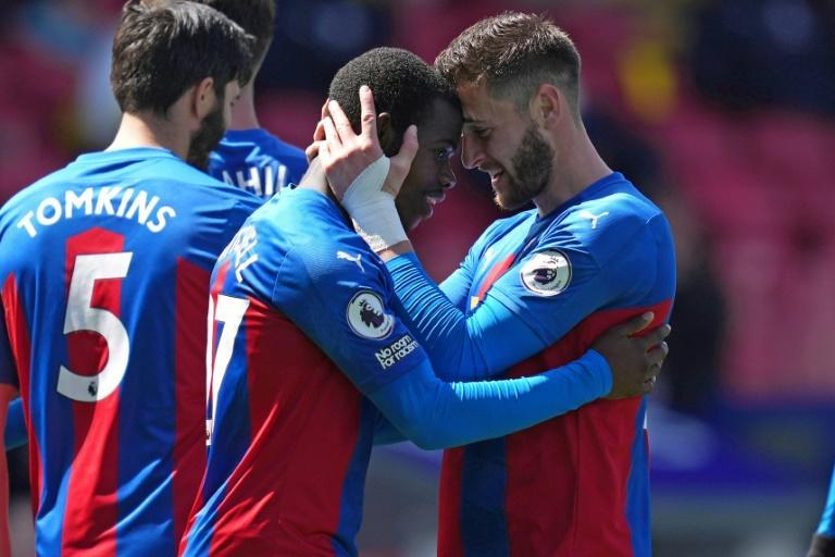 Palace coup - Crystal Palace's Tyrick Mitchell (C) celebrates with team-mate Joel Ward (R) after scoring their winner in a 3-2 victory over Aston Villa
