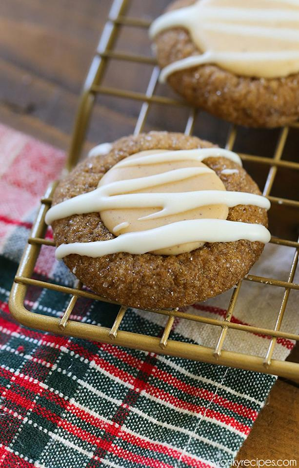"""<p>Upgrade your usual gingerbread recipe with a melt-in-your-mouth spiced white chocolate filling.</p><p><strong>Get the recipe at <a rel=""""nofollow"""" href=""""http://www.swankyrecipes.com/gingerbread-thumbprint-cookies.html"""">Swanky Recipes</a>.</strong></p><p><a rel=""""nofollow"""" href=""""https://www.amazon.com/gp/product/B0000CDVD2"""">SHOP COOKIE SCOOPS</a></p>"""