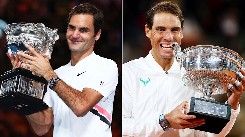 Pictured here, Roger Federer and Rafael Nadal with one of their 20 career grand slam singles trophies.