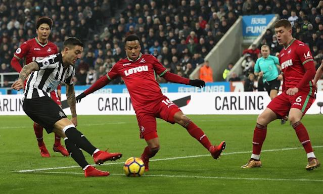 "<span class=""element-image__caption"">Joselu equalises from a narrow angle for Newcastle United.</span> <span class=""element-image__credit"">Photograph: Ian MacNicol/Getty Images</span>"
