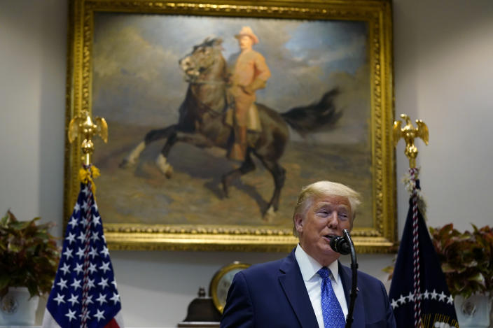President Donald Trump speaks in front of a painting of former U.S. President Theodore Roosevelt during an event on the food supply chain amid the coronavirus pandemic, in the Roosevelt Room of the White House, Tuesday, May 19, 2020, in Washington. (AP Photo/Evan Vucci)