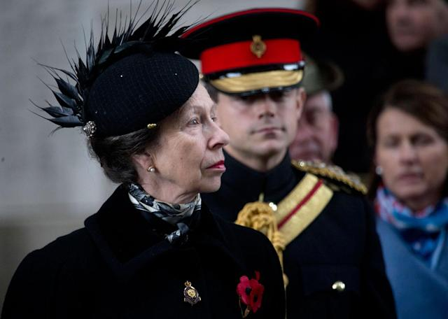 <p>Britain's Princess Anne, left, attends an Armistice Day ceremony under the Menin Gate in Ypres, Belgium on Saturday, Nov. 11, 2017. The Menin Gate Memorial bears the names of more than 54,000 British and Commonwealth soldiers who were killed in the Ypres Salient of World War I and whose graves are not known. (Photo: Virginia Mayo/AP) </p>