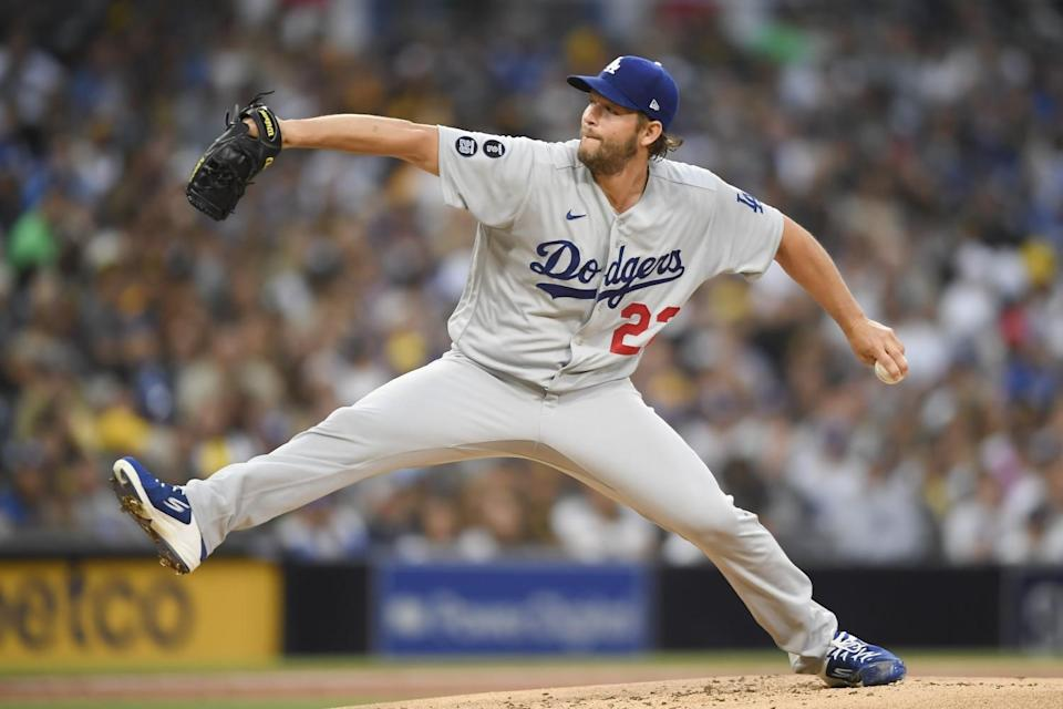 Dodgers pitcher Clayton Kershaw delivers against the San Diego Padres.