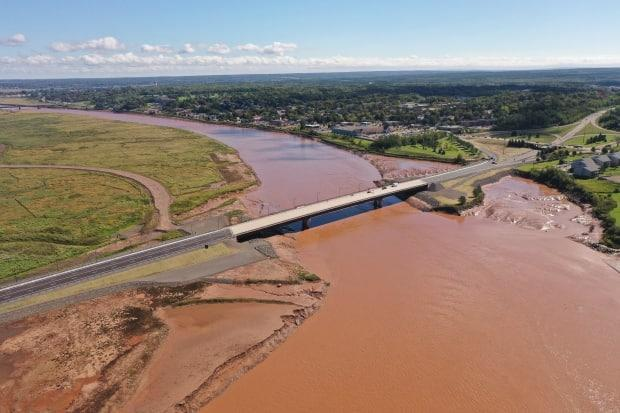 The Petitcodiac River bridge between Moncton and Riverview shown just before it opened Friday afternoon.  (Shane Fowler/CBC - image credit)