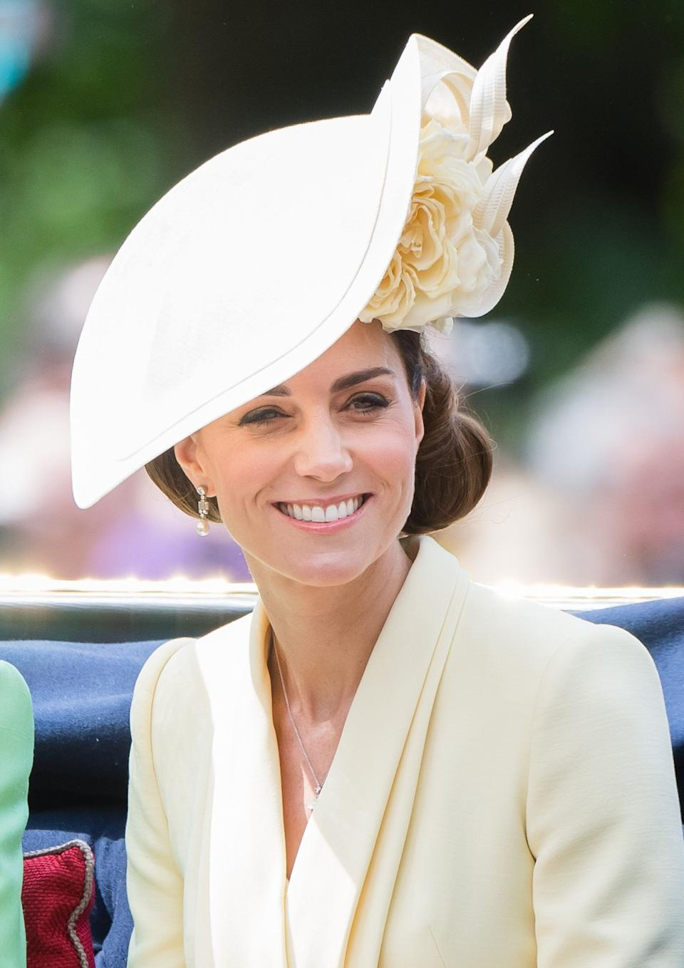 LONDON, ENGLAND - JUNE 08: Catherine, Duchess of Cambridge rides by carriage down the Mall during Trooping The Colour, the Queen's annual birthday parade, on June 08, 2019 in London, England. (Photo by Samir Hussein/Samir Hussein/WireImage)