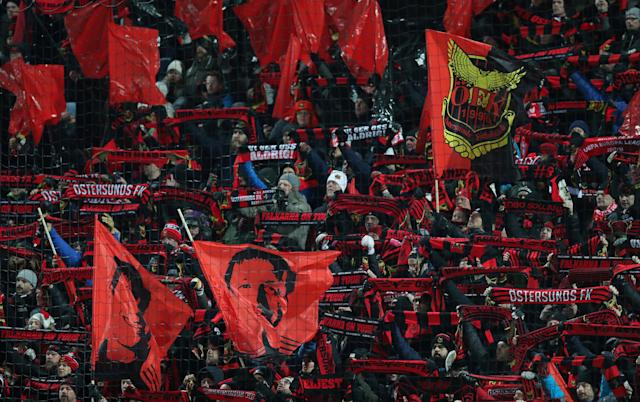 Soccer Football - Europa League Round of 32 First Leg - Ostersunds FK vs Arsenal - Jamtkraft Arena, Ostersund, Sweden - February 15, 2018 Ostersunds fans before the match Action Images via Reuters/Peter Cziborra