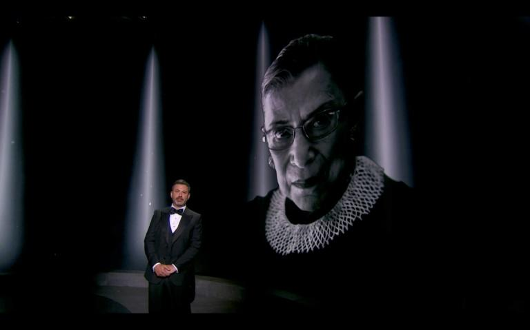 Emmys host Jimmy Kimmel and prize winners made tributes to late Supreme Court justice Ruth Bader Ginsburg