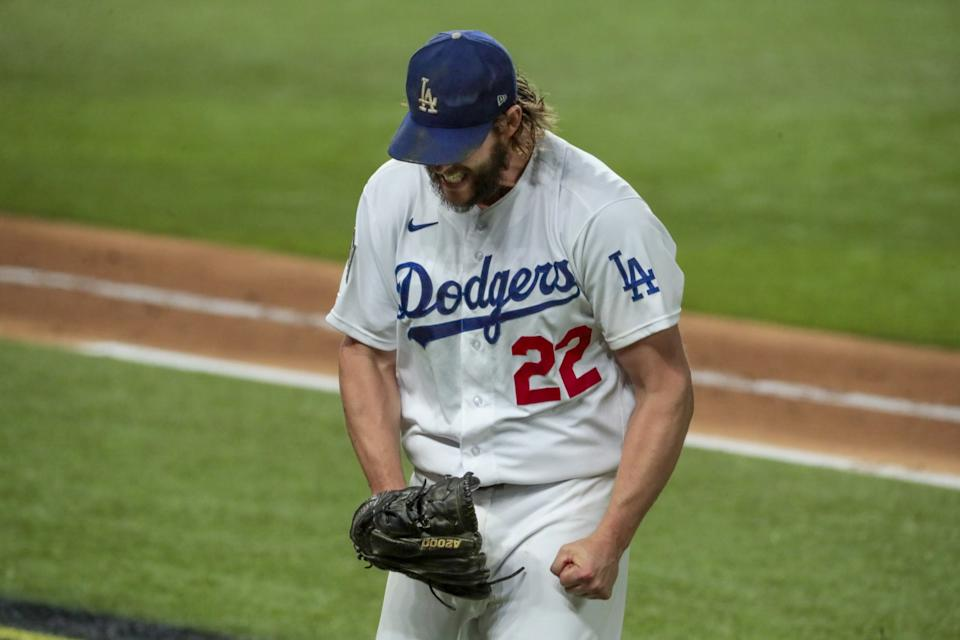 Dodgers starting pitcher Clayton Kershaw yells out in frustration as he heads to the dugout.